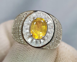 Unique Design Yellow Fire Opal 42.10 Carats 925 Silver Ring