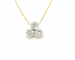 SOLID GOLD - Certified Diamond Pendant 0.25tcw. and Chain.