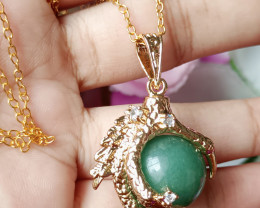 Natural Dragon Claw Aventurine With CZ Gold Plated Handmade Pendant