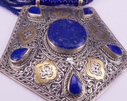 Beautiful Pentagon Shape Lapis Lazuli Pendent + Gold Platted