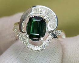 Natural Tourmaline 16.90 Carats 925 Silver Ring