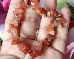 Natural Red Agate Handmade Bracelet 100% Natural Unheated