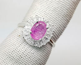 Natural Pink Sapphire Silver Ring