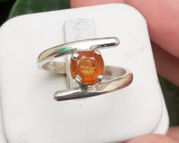 16.80 Carats Natural Spessartite Garnet 925 Silver Ring