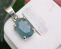 12.25 Carats Natural Grandidierite 925 Silver Pendant