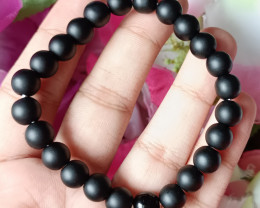 Natural Black Mate Finishing Agate Handmade Bracelet 100% Natural Unheated