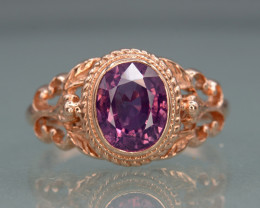 Gorgeous Natural Sapphire From Kashmir With 14K, Rose Gold Ring