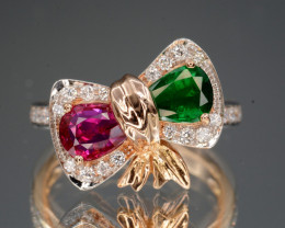 18K Natural Emerald & Natural Ruby &  Diamond With 18K Gold Ring