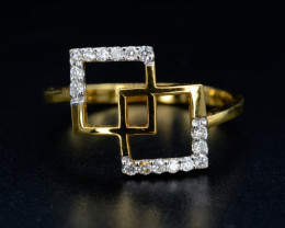 18K Gorgeous Natural Diamond with 18K Gold Ring