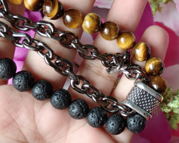 Natural Tiger Eye Volcano Handmade Bracelet 100% Natural Unheated