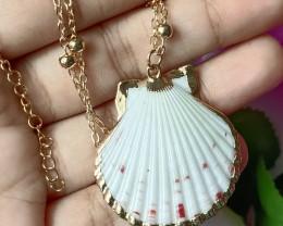 Natural Bird Wings Shape Seashell Gold Plated Handmade Pendant Unheated