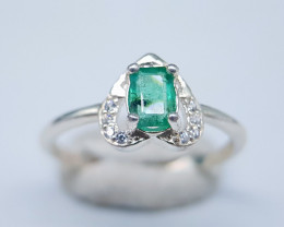 Natural Green Emerald 925 Silver Ring