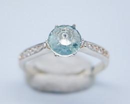Natural Aquamarine 925 Silver Ring