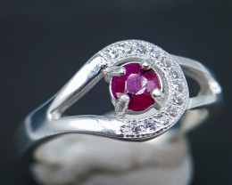Natural Red Ruby 925 Silver Ring
