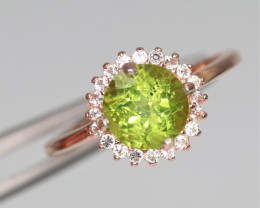 Attractive Natural Peridot, CZ & 925 Fancy Rose Gold Sterling Silver