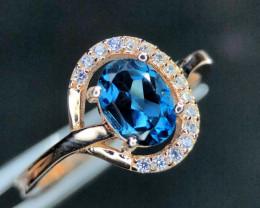 ~NR~15.8(ct)Seductive London Blue Topaz,CZ,Silver 925 Ring