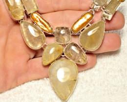470.25Tcw. Rutile Quartz / Pearl, Sterling Silver Necklace - Gorgeous