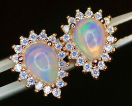 ~NR~Magnificent Fire Opal,CZ Silver 925 Earings
