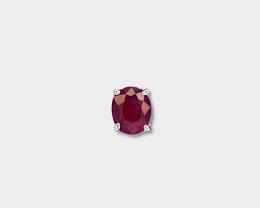 Burma Ruby Single Stud Earring, Set in 14k Yellow Gold