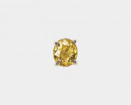 Yellow Zircon Single Stud Earring, Set in 14k Yellow Gold