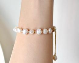 Fresh water pearl bracelet, white pearl bracelet