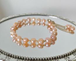 Fresh water pearl bracelet,  peach pearl bracelet