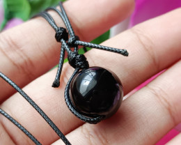 Natural Ball Black Onyx Gold Plated Handmade Pendant 100% Natural