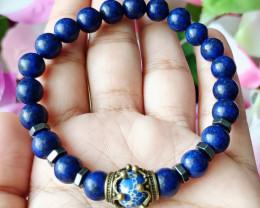 Natural Lapis Lazuli, Zebra Jasper & Hematite Handmade Bracelet Unheated