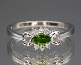 Natural Chrome Diopside , CZ Silver Ring Beautiful Design