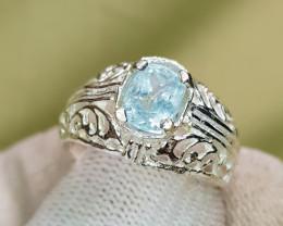 Natural Blue Aquamarine 18.20 Carats Hand Made Ring