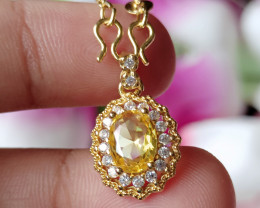 100% Natural Citrine With CZ 925 Silver Gold Plated Handmade Pendant