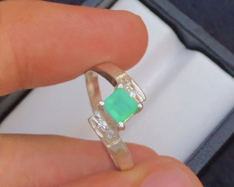 12.80 Ct Silver Ring ~ With Natural Emerald  Stone Afghan  Mined !