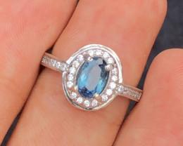 NR- Unique Design 17.0  Ct Silver Ring ~ With Indigo Blue Tourmaline