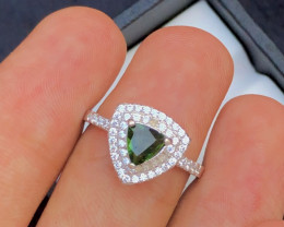 NR - Unique Design 17.25 Ct Silver Ring ~ With Green Tourmaline