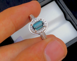 NR Unique Design 17.50 Ct Silver Ring ~ With Indigo Blue Tourmaline