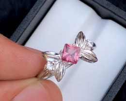 Presenting Exclusive 12.20 Ct Silver Ring  ~  With Pink Tourmaline !