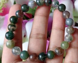 Natural 8mm Indian Agate  Handmade Bracelet 100% Natural Unheated