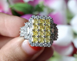 925 Silver Big Smile Natural Zircon Gold Plated Handmade Ring