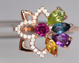 Gorgeous Natural Multi Stones, CZ & 925 Fancy Rose Gold Sterling Silver