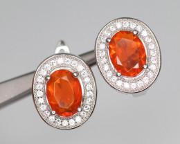 Gorgeous Natural Orange Fire Opal, CZ & 925 Fancy Sterling Silver