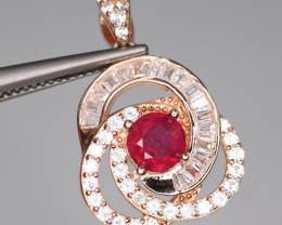 Gorgeous Natural Ruby, CZ & 925 Fancy Rose Gold Sterling Silver Pendant