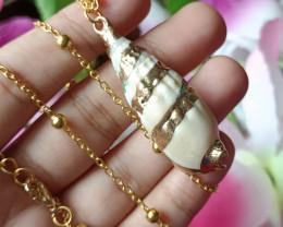 Natural Seashell Gold Plated Handmade Pendant 100% Natural Unheated