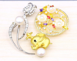 3 Pieces Wholesales Pearl Jewelry Brooch with Pin