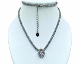 1.60ct.Charming Kunzite Gemstone Silver925 Necklace.DKZ506