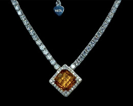 1.93ct.Enticing Natural Madeira Citrine Silver925 Necklace.DCT507