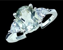 1.84ct.Exquisite Natural Prasiolite Gemstone Silver925Ring.DPL512
