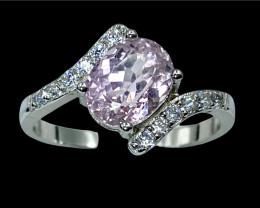 2.67ct.Glamorous Natural Kunzite Gemstone Silver925Ring.DKZ521