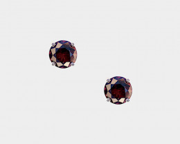 Red Spinel Stud Earrings, Brilliant Cut ,14k Yellow Gold