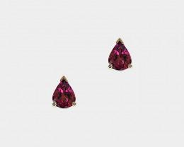 Pink Tourmaline Stud Earrings, 14k Yellow Gold, Pear Cut