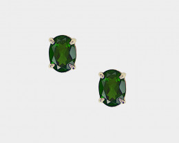 Chrome Diopside Stud Earrings, 14k Yellow Gold, Oval Cut